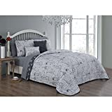 7pc Grey I Love Paris Quilt Queen Set, Eiffel Tower Bedding France Inspired Iconic French Pattern Quotes Sayings Fashionable Gray Stamps, Polyester