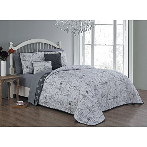 7pc Grey I Love Paris Quilt Queen Set, Eiffel Tower Bedding France Inspired Iconic French Pattern Quotes Sayings Fashionable Gray Stamps, Polyester by Unknown