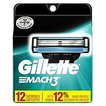 Gillette Mach3 Men's Razor Blades, 12 Blade Refills