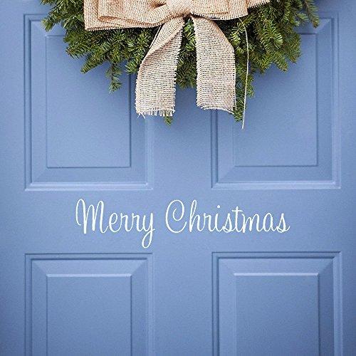 Merry Christmas Door (Christmas Wall Decal Vinyl Merry Christmas Front Door Decal Christmas Decorations, Matt White (Merry Christmas))