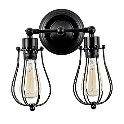 Csinos Vintage Wall Light Industrial Cage Design Wall Sconce Black Metal Wire Cage Wall Lamp