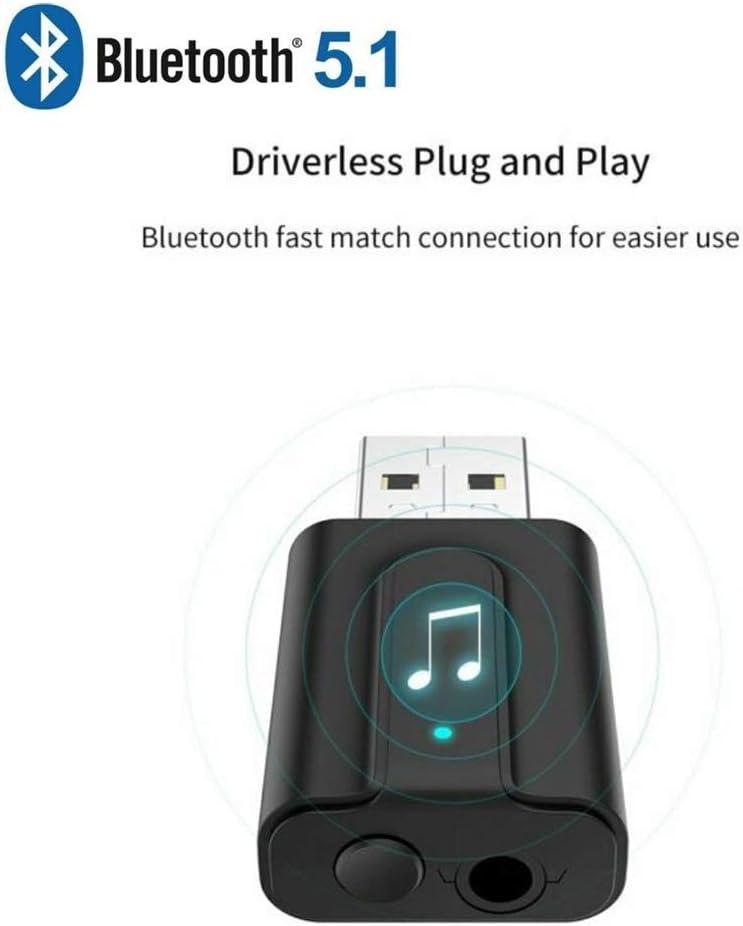 Iswell Adaptador Bluetooth, nuevo estilo Dos en uno Bluetooth 5.1 USB Transmisor y receptor Bluetooth Televisión Computadora Audio inalámbrico Adaptadores USB Bluetooth