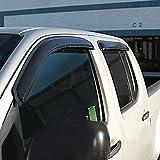 VioletLisa 4pcs Front + Rear Smoke Sun/Rain Guard Vent Shade Window Visors Fit 92-00 Chevy/GMC C/K 1500/2500/3500 Crew Cab Pickup 92-99 Suburban 95-99 Tahoe/Yukon 99-00 Cadillac Escalade