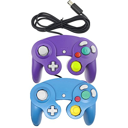 bowink-ngc-classic-wired-shock-joypad-game-stick-pad-controller-for-wii-gamecube-ngc-gc-black-blue-a