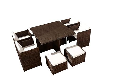 Set de mesa y sillas de jardín 8 personas encajables, resina ...