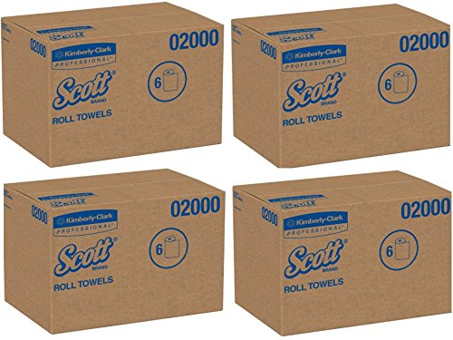 Scott 02000 Hard Roll Towels, 1.75'' Core, 8 x 950ft, 1 3/4'' Core, White, 4 Cases (6 Rolls) by Kimberly-Clark Professional