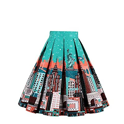 Relipop Women's Floral Pleated Knee Length A-line Skater Skirt at Women's Clothing store