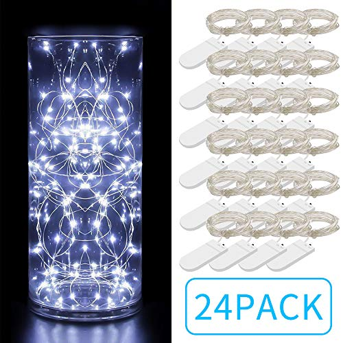 Govee 24 Pack Fairy Lights 3.3ft with 20 LEDs, Battery Operated String Lights Waterproof Flexible Silver-Plated Copper Wire Light for DIY Bedroom Patio Parties Wedding -