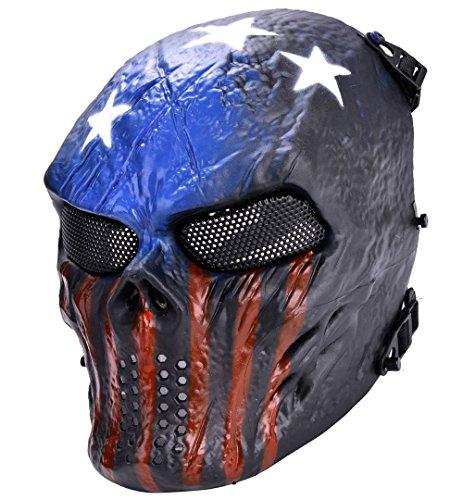 Airsoft Mask, XCYT Tactical Full Face Skull Mask Mesh Eye Protection Mask (Dark Blue)