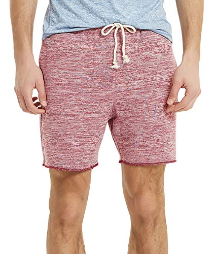 Athletic Running Shorts Men Knit Terry Gym Shorts for Men with Pockets(M, Marled Burgundy) ()