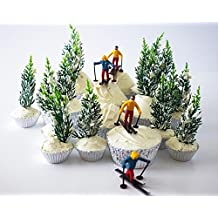 Skier Pine Tree Cupcake Topper Display Kit 6 Skier Toppers 12 Pine Trees Novelties 30 Foil Baking Cups