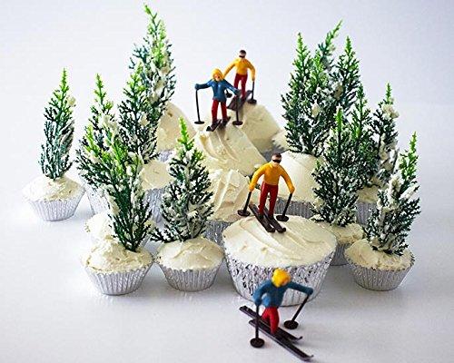 Skier Pine Tree Cupcake Topper Display Kit 6 Skier Toppers 12 Pine Trees Novelties 30 Foil Baking Cups by Cakegirls (Image #1)