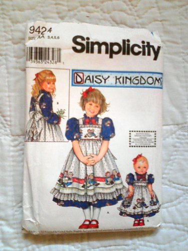 Simplicity 9424 Daisy Kingdom Sewing Pattern for Girls 3-4-5-6 Puff Sleeve Gathered Dress with Ruffled Trimmed Pinafore Apron & 18