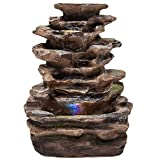 Best Choice Products Fountain Waterfall w/Multicolor LED Lights for Home, Indoor, Tabletop- Brown