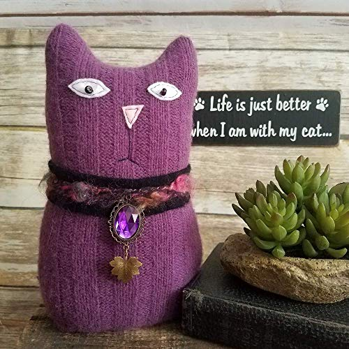 Upcycled Sweater Cat 10 Inch Tall Home Decor Ragamuffin Art Doll ()