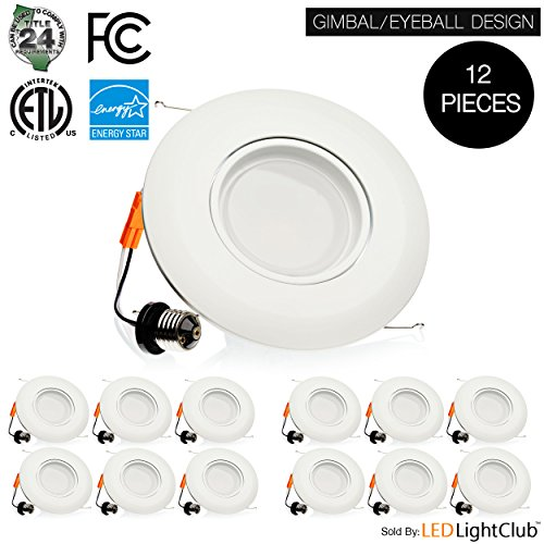 (12 Pack) - 6-inch LED Gimbal Downlight Trim, 15W, Eyeball Downlight Design, Retrofit LED Recessed Lighting Fixture, Dimmable, Retrofit Kit Down Light, 5000K (Day Light), LED Ceiling Light (5000K) (Led Can Light Eyeball compare prices)