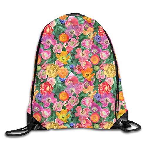 Bird's Eye View Of The Flower Bed Drawstring Backpack Rucksack Shoulder Bags Sport Gym Bag Travel (Eye Bed View Birds)