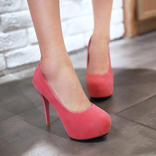 ebd7e1a0402906 ... YE Damen Stiletto Pumps Geschlossene High Heels Plateau mit 12cm Absatz  Elegant Simple Party Schuhe Rosa