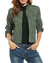 Women's Faux Suede Jacket Open Front Pocket Slim Short Casual Coat