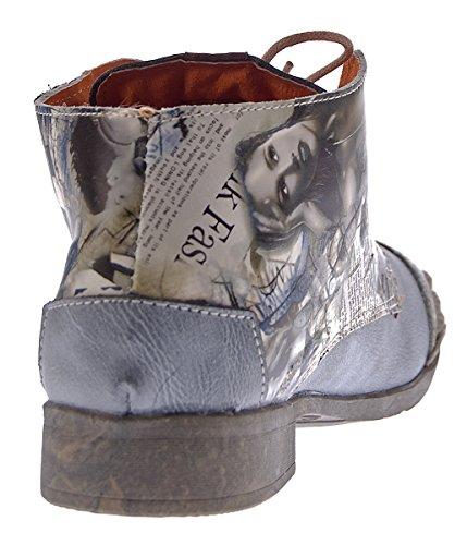 Damen Leder Knöchel Schuhe Stiefeletten Comfort Desert Boots TMA 5330 Halbschuhe Schwarz Weiß Rot Blau Schwarz Grau