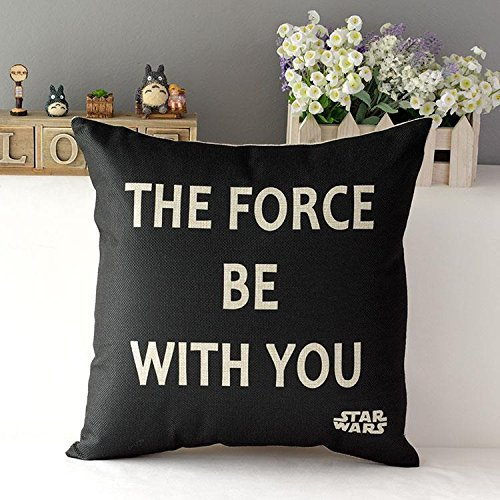 18inch Fashion Thick Cotton Linen Fabric Throw Pillow 45cm 120g Hot Sale Star Wars New Home Bar Coffee House Decorative Pillowcase Sofa Back Cushion Cover for Office Nap (The Force - Pillow Decorative Housewares