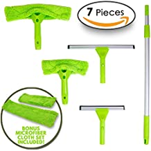 Professional Window Cleaning Kit - Ultimate Window Washer Tool with 5 in 1 Cleaning Scrubber | Includes 2 Squeegees & 2 Microfiber Heads + 1 Long Handle Telescopic Extension Pole by Modern Domus