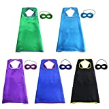 iROLEWIN 5 Pcs Kids Capes and Mask Party Decoration Role Cosplay Costumes Like Superhero Style