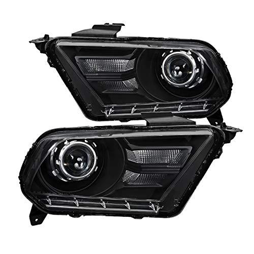 Spec-D Tuning Black Retrofit Style Projector Headlights Head Lamps for 2010-2014 Ford Mustang Head Light Assemply Left + Right Pair