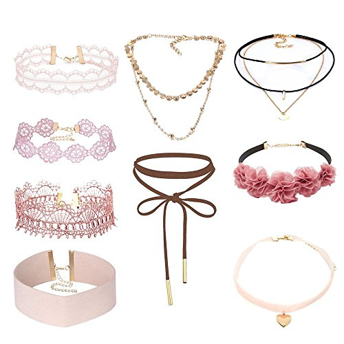 9 Pcs Lace Choker Set Women Girl Classic Gothic Tattoo Necklaces Stretch Velvet Lace Choker by ZYooh