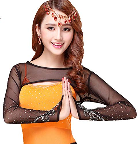 YiZYiF Women's Scoop Neck Rhinestones Mesh Open Bust Long Sleeve Belly Dance Crop Top Black One Size ()