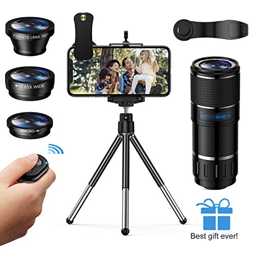 Phone Camera Lens, Vorida 6-in-1 Photography Lens Kit,14X Pro Telephoto Lens+180°Fisheye +0.65X Wide Angle &15X Macro Lens+Tripod+Remote Shutter Compatible for iPhone,Samsung & Android Smartphones