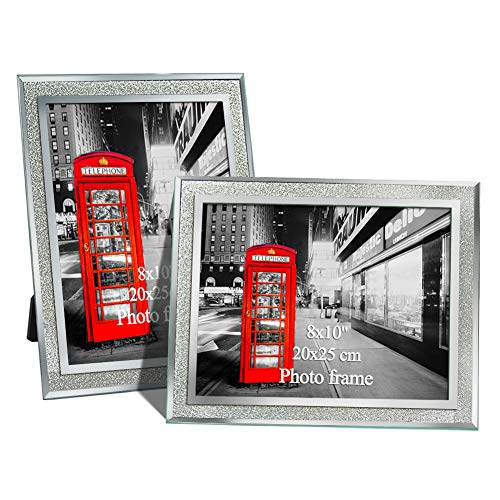 Amazing Roo 8x10 Picture Frames Clear Glass Photo Frame for Tabletop Display, Pack of 2