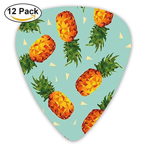 Newfood Ss Poly Style Pineapples Motif Vintage Beach Summer Modern Guitar Picks 12/Pack Set