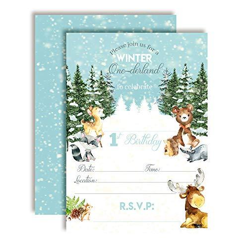 Woodland Winter Wonderland One-derland First Birthday Party Invitations for Boys, 20 5