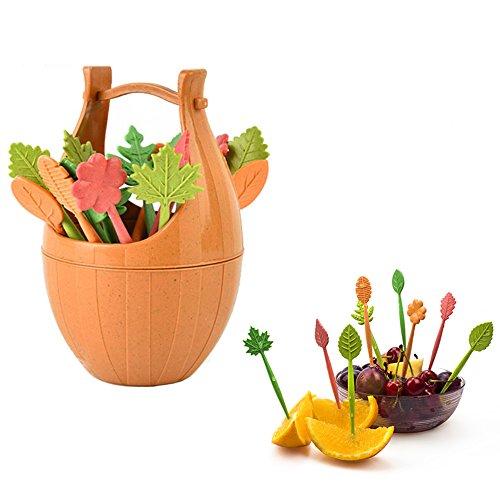 Wensltd Clearance! 16 pcs Leaves Salad Fruit Forks with Barrel Holder (Brown)]()