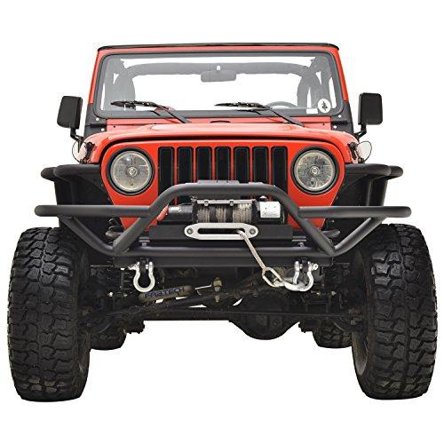 E-Autogrilles-51-0000-Black-Front-Bumper-87-06-Jeep-Wrangler-TJYJ-Textured-Tubular-Off-Road