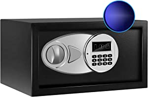 Sdstone Safe Box with Sensor Light, Hidden Safe Box with Key & Digital Lock for Home and Company. Electronic Security Safe Box Wall or Cabinet Fixed Design, Protect Cash, Jewelry, 0.4 Cubic Feet