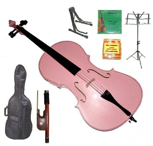 Merano 1/10 Size Pink Student Cello with Bag and Bow+2 Sets of Strings+Pitch Pipe+Cello Stand+Black Music ()