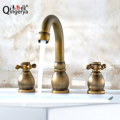 Ling Kitchen Sink Faucets Basin Mixer Faucet Tap Bathroom Faucet Tap Antique Three Hole Bath with Two Split 2-on 8-inch Solid Brass hot Cold Spout Water Pull ()