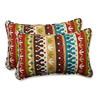 Pillow Perfect Outdoor/Indoor Cotrell Jungle Rectangular Throw Pillow (Set of 2) - Includes two (2) outdoor pillows, resists weather and fading in sunlight; Suitable for indoor and outdoor use Plush Fill - 100-percent polyester fiber filling Edges of outdoor pillows are trimmed with matching fabric and cord to sit perfectly on your outdoor patio furniture - patio, outdoor-throw-pillows, outdoor-decor - 51jcGJVFyBL. SS400  -