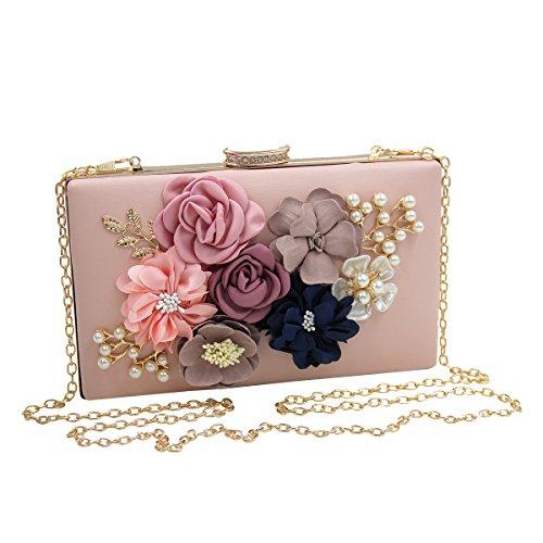 OULII Donna Pochette Borsa Sacchetto Borsetta Da Sera Borsa Perla di Fiori Portafoglio Frizioni (Rosa )