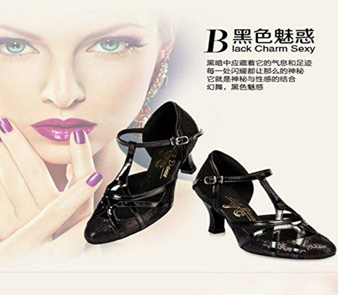 chaussures Color Latin Bracelet Femmes Jane haut Argent éclair Taille TMKOO doux de de en toe Dance Noir amp; danse 35 Mary talons bas fermé T FqnR7