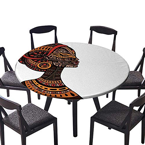 Premium Round Tablecloth Pagan Exotic Beauty Woman Figure with Traditional Mask Totem Illustration Brown Cinnamon Everyday Use 47.5