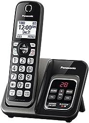 Panasonic Expandable teléfono inalámbrico con Call Bloque y contestadora, 1 Handset, Metallic Black