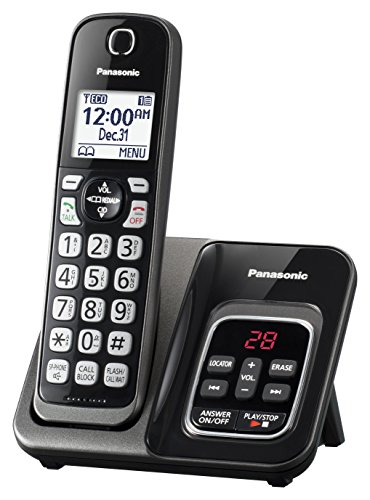 PANASONIC Expandable Cordless Phone System with Call Block and Answering Machine - 1 Cordless Handsets - KX-TGD530M (Metallic Black)