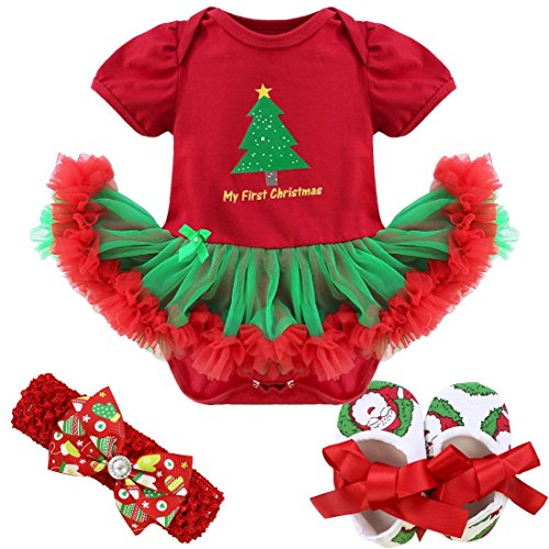 [FEESHOW 4Pcs Infant Baby Girls Santa Claus/Christmas Tree Romper Outfits Costume Red Green Christmas Tree 0-3] (Top 2016 Toddler Halloween Costumes)