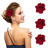 FIOBEE 2.75' Rose Hair Clip Flower Hairpin Rose Brooch Floral Clips for Woman Girl Party Wedding Pack of 3