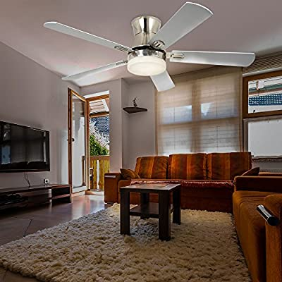 LuxureFan Indoor Flush Mount Ceiling Fan with Led Light with 5 Wood Blade 3 Speed Turn Light Low Profile Decoration for Modern Home/Restaurant Remote Control Mute Chandeliers of 52 Inch