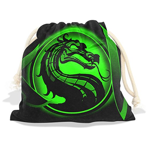 Mortal Kombat Jade Cosplay Costume (Dragon PrintVelvet Drawstring Gift Bag Wrap Present Pouches Favor for Jewelry, Coin, Holiday, Birthday, Party, 12X14 Inches)