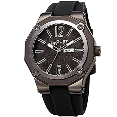 August Steiner Men's Quartz Stainless Steel and Leather Casual Watch, Color:Black (Model: AS8232BK)